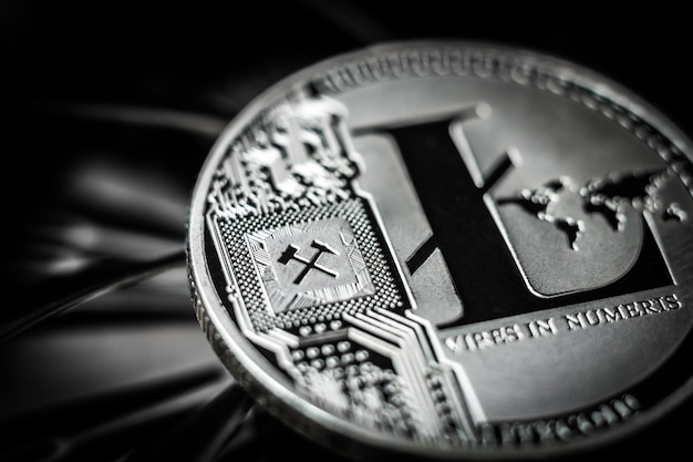 Litecoin munt op donkere achtergrond