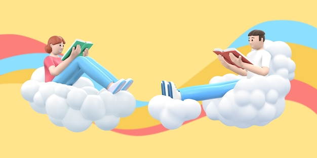 Literatuurfan een jonge jongen en een meisje in de lucht op een wolk lezen een boek.