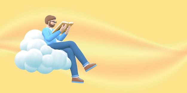Literatuurfan een jonge kerel met een baard in glazen in de lucht op een wolk leest een boek.
