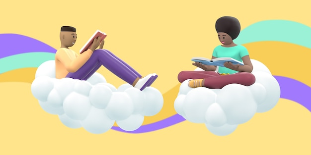 Literatuurfan een jonge man en een afrikaans meisje in de lucht op een wolk lezen een boek.