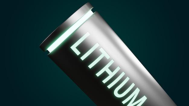 Lithium-ionbatterij met volledig opgeladen energieniveau, 3d-rendering li-ion neon-energieopslagapparaat machtsoplaadtechnologie illustratieconcept
