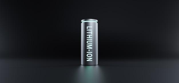 Lithium-ionbatterij met volledig opgeladen energieniveau op zwarte achtergrond, 3d-rendering li-ion neon energieopslagapparaat macht opladen technologie illustratie