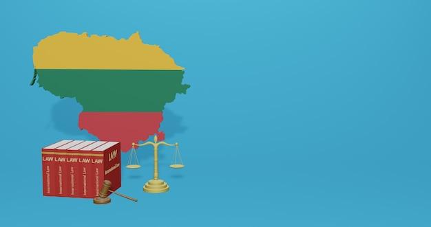 Litouwse wet voor infographics, sociale media-inhoud in 3d-weergave