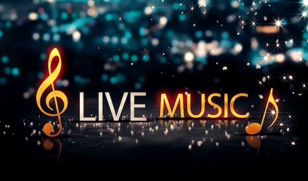 Live muziek gold silver city bokeh star shine blauwe achtergrond 3d