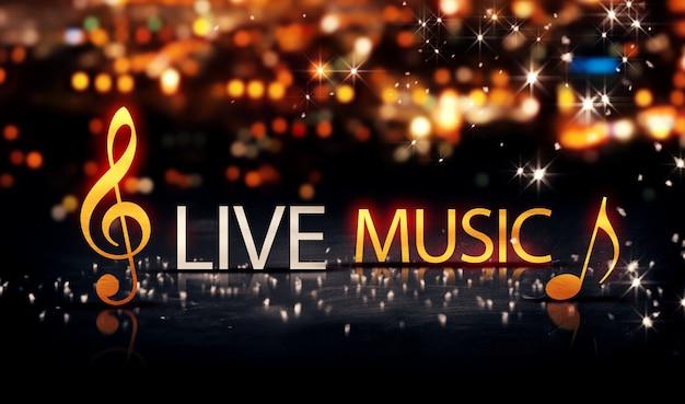 Live muziek gold silver city bokeh star shine gele achtergrond