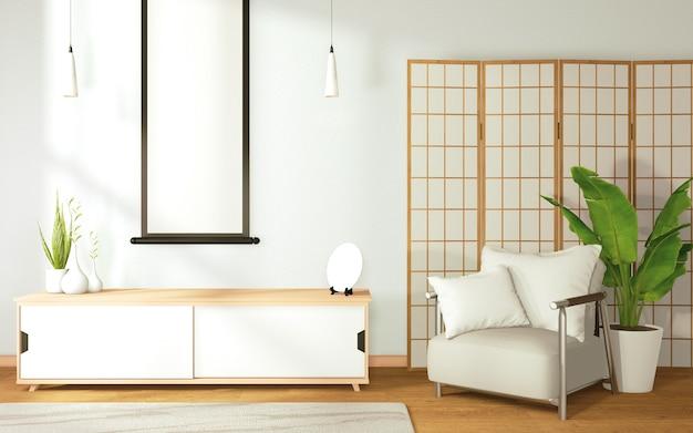 Living mock up tropische zen kamer interieur op kamer japan stijl en decoratie. 3d-rendering