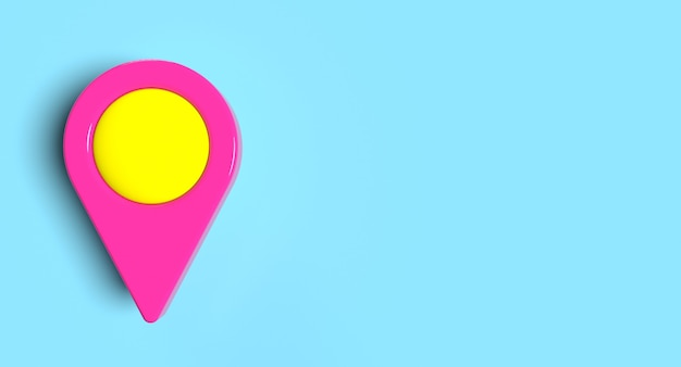 Locatie pin teken kaartpictogram op de achtergrond. reis- en navigatieconcept. 3d illustratie.