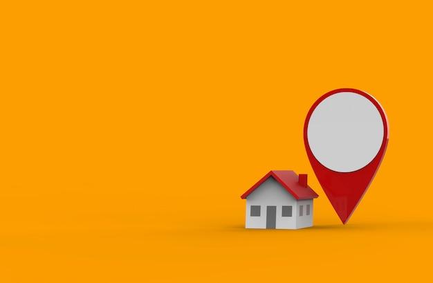 Locatiepictogram en huis dat op oranje achtergrond wordt geïsoleerd. 3d illustratie.
