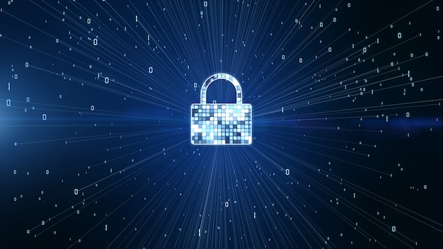Lock icon cyber security, digital data network protection, future technology network achtergrond concept.