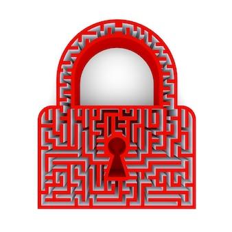 Lock pictogram symbool met sleutelgat en een doolhof. 3d-rendering