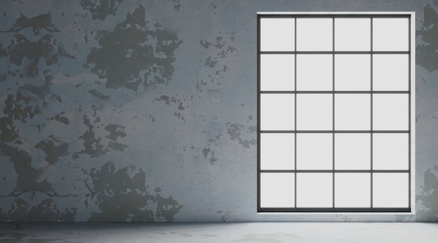 Loft binnenmuur met zwarte ramen