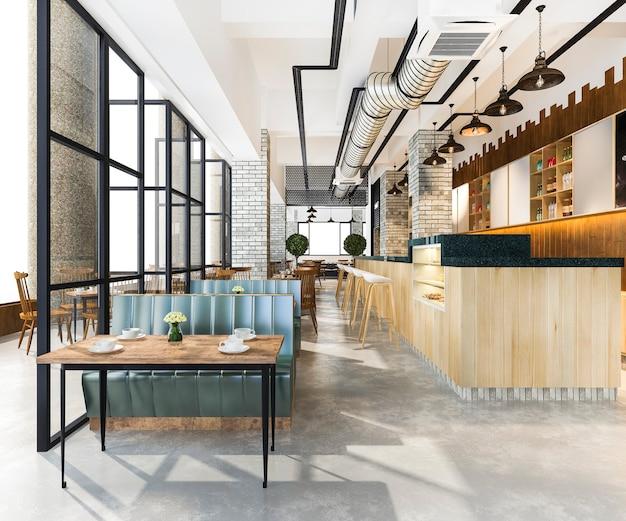 Loft en luxe hotelreceptie en café-lounge-restaurant