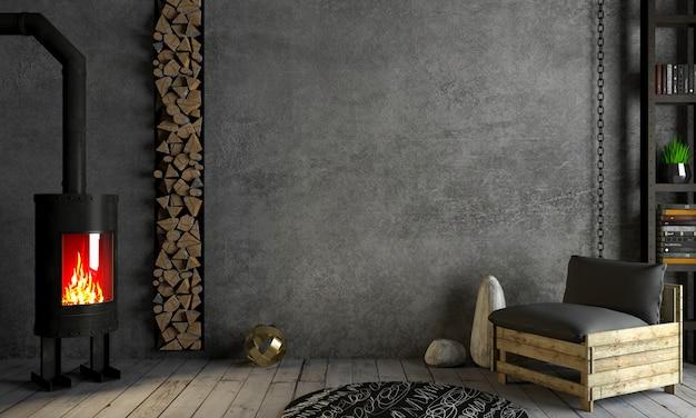 Loft interieur open haard op oude muur