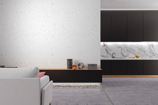 Loft minimalistische witte woonkamer met betonnen vloer, keuken, bank. 3d render illustratie.