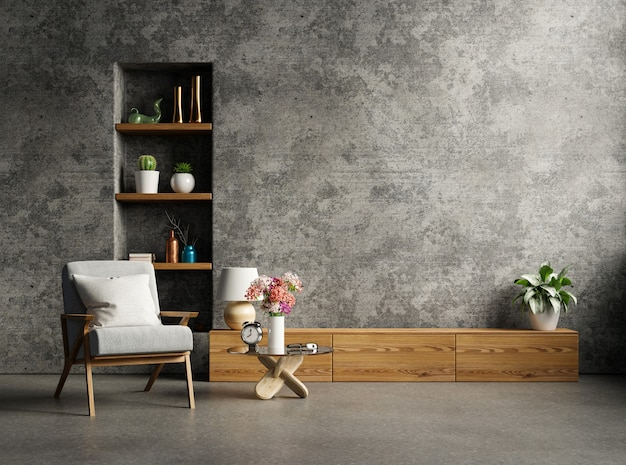 Loft-stijl huis met fauteuil en accessoires in de kamer. 3d-rendering