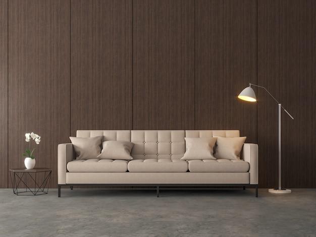 Loft-stijl woonkamer 3d render er zijn gepolijste betonnen vloer en houten paneelmuur panel