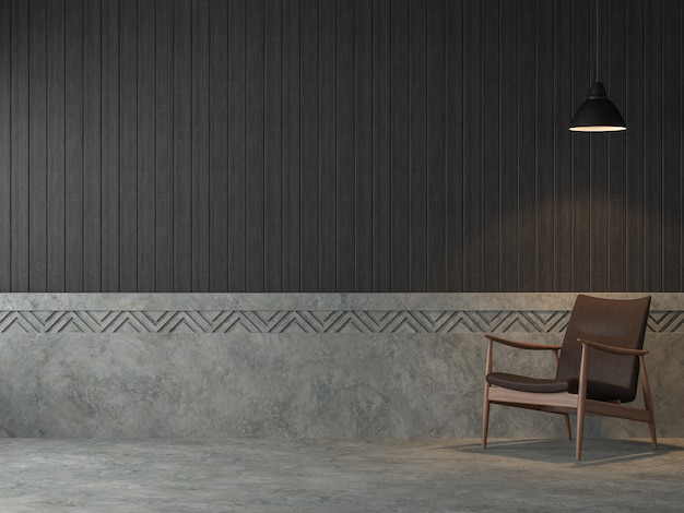 Loft-stijl woonkamer 3d renderer zijn gepolijste betonnen muur en zwarte houten plank