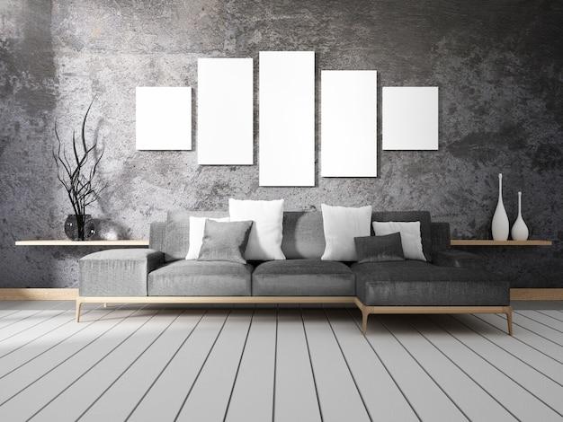 Loft style interior design. 3d-weergave