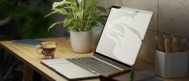 Loft thuiswerkruimte interieur met laptop met leeg scherm mockup op houten werktafel 3d