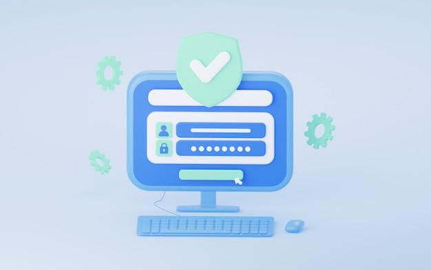 Log in met een wachtwoord op de computer het concept van bescherming en beveiliging