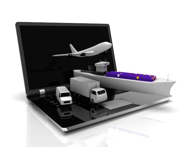 Logistiek concept. laptop, vliegtuig, schip, vrachtwagen. 3d-gerenderde afbeelding