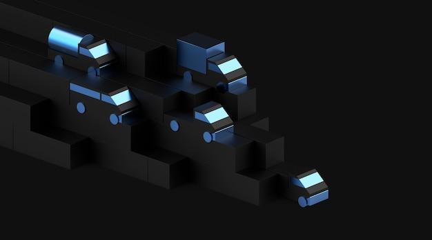 Logistiek constructeur 3d visuele primitieve vrachtwagen set render metalen vrachtwagen speelgoed model