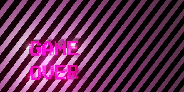 Logo game over neon laser color alphabet glow effect leuke en vrolijke 3d-afbeelding