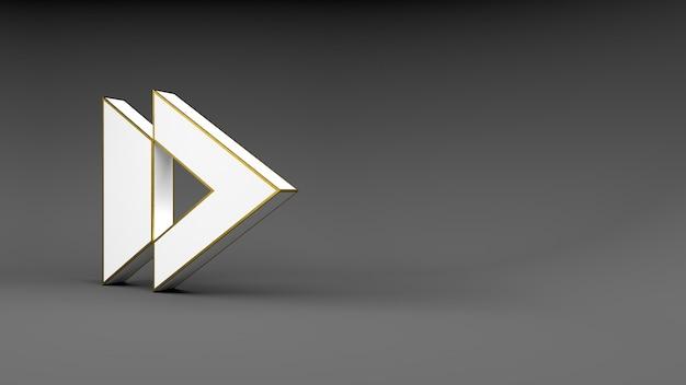 Logo pijlknop op grijs oppervlak met gouden rand en zachte schaduwen