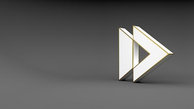 Logo pijlknop op grijze achtergrond met gouden rand en zachte schaduwen. 3d-weergave.