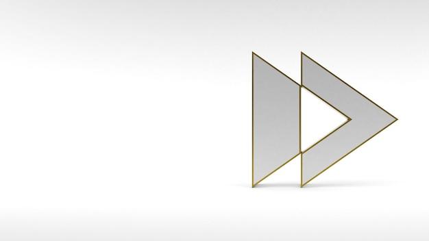 Logo pijlknop op witte achtergrond met gouden rand en zachte schaduwen. 3d-weergave.