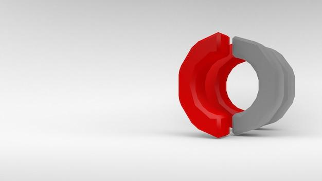 Logo wit-rode ring van twee helften op witte achtergrond. 3d-rendering.