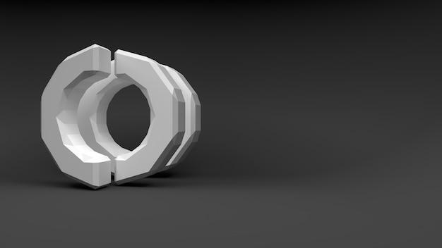 Logo witte ring van twee helften op grijze achtergrond. 3d-rendering.
