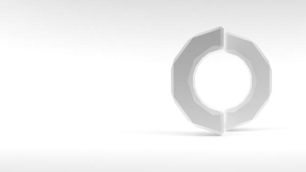 Logo witte ring van twee helften op witte achtergrond. 3d-rendering.