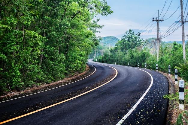 Lokale weg, landschapsstraat anadegroene achtergrond