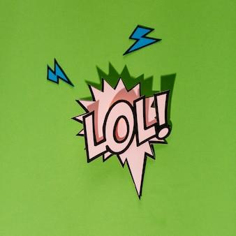 Lol! komische tekstballon in cartoon stijl op groene achtergrond