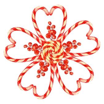 Lolly, bloem aangelegd met kerstmissuikergoed met een boog. aquarel illustratie op planken