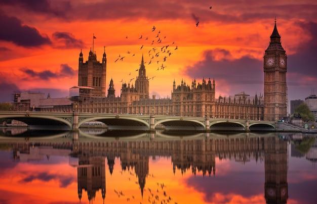 London westminster en big ben weerspiegeld de theems bij zonsondergang met vogels die over de stad vliegen