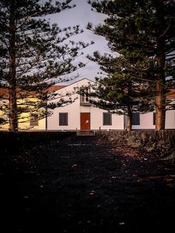 Long shot van een pad tussen bomen naar een huis