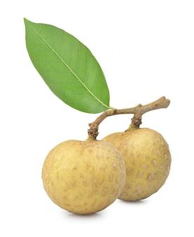 Longan fruit met groen blad dat op witte achtergrond wordt geïsoleerd