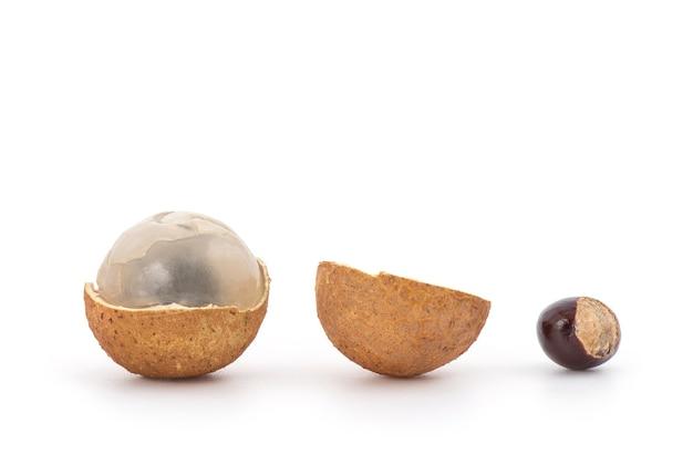 Longan of dimocarpus longan vruchten zaden en schil geïsoleerd op wit.