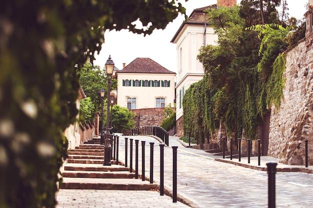 Loop door de straten van boedapest in hongarije, het historische centrum