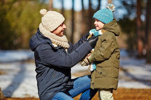 Loop met zoon