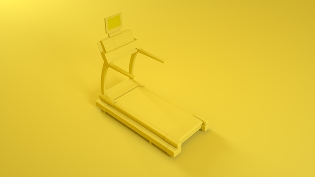Loopband running machine op gele achtergrond. 3d-afbeelding.