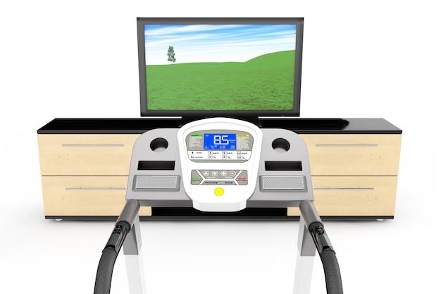 Loopbandmachines met tv op een witte achtergrond