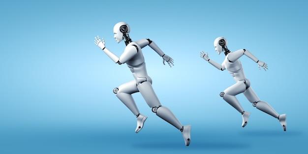 Lopende mensachtige robot die snelle bewegingen en vitale energie toont