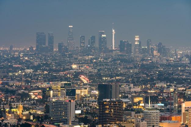 Los angeles cityscape zonsondergang