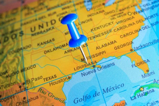Louisiana vastgemaakt op een kaart van amerika