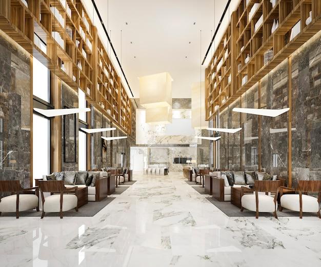 Lounge lobby met balie en boekenkast