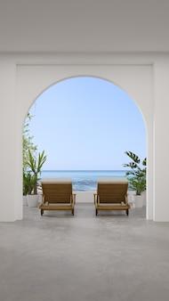 Lounge stoelen op betonnen vloer terras in modern nieuw huis of luxe hotel