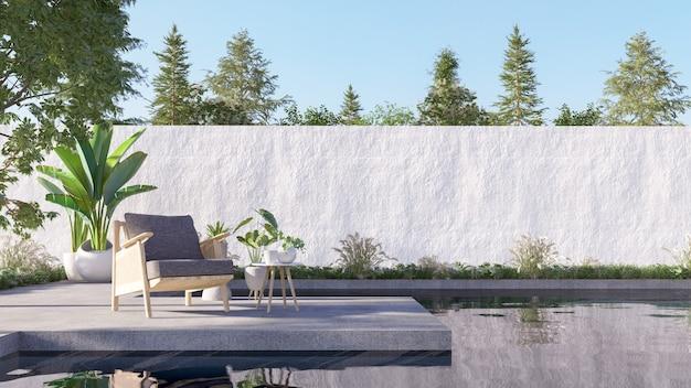 Loungen met een fauteuil op de patio lezing frisse lucht. 3d-rendering